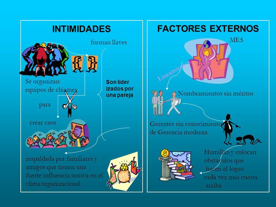 INTIMIDADES FACTORES EXTERNOS MES forman llaves Lineamientos