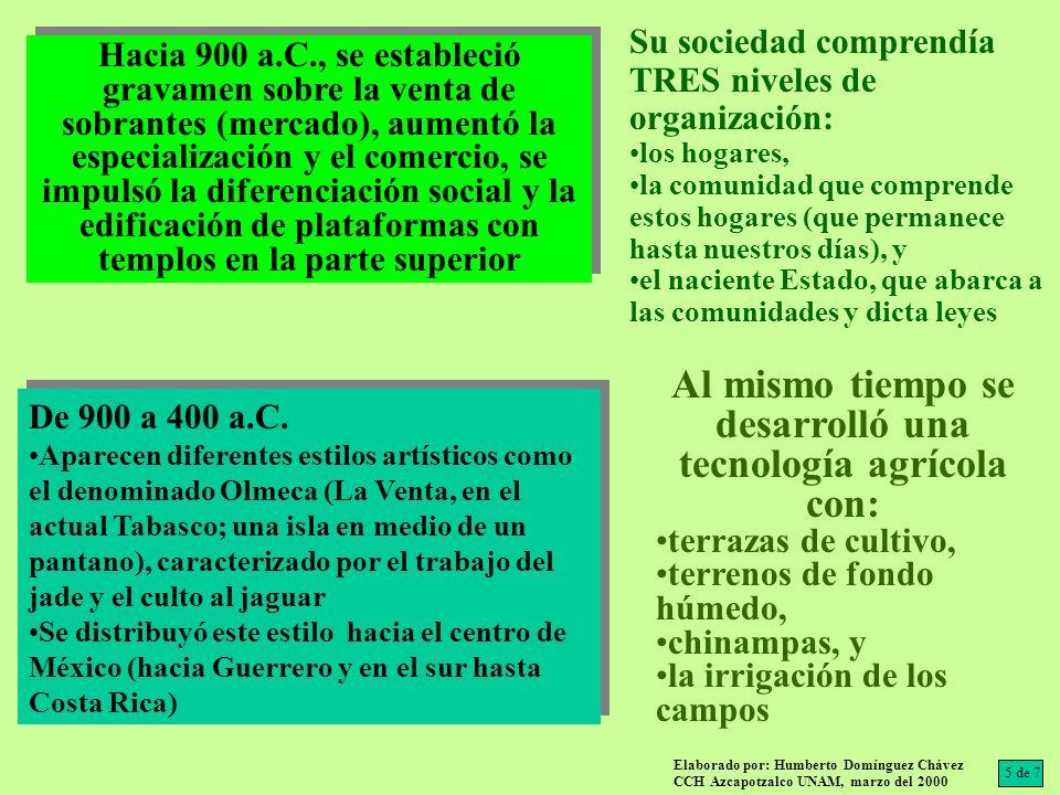 Al mismo tiempo se desarrolló una tecnología agrícola con: