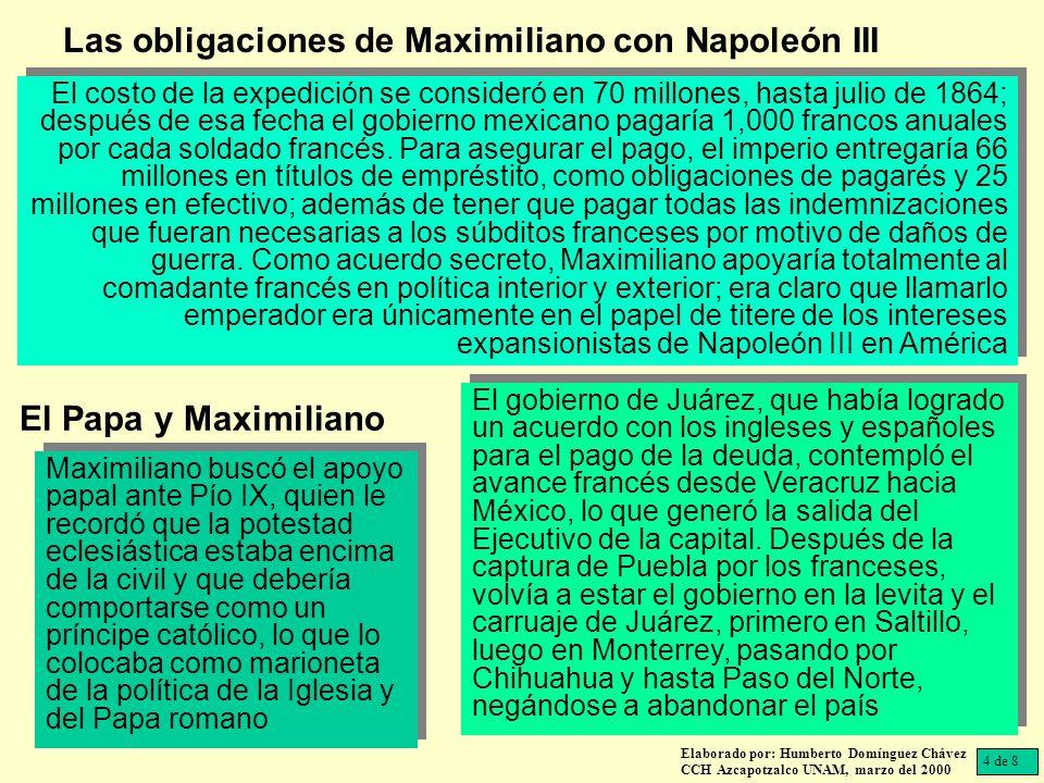 Las obligaciones de Maximiliano con Napoleón III
