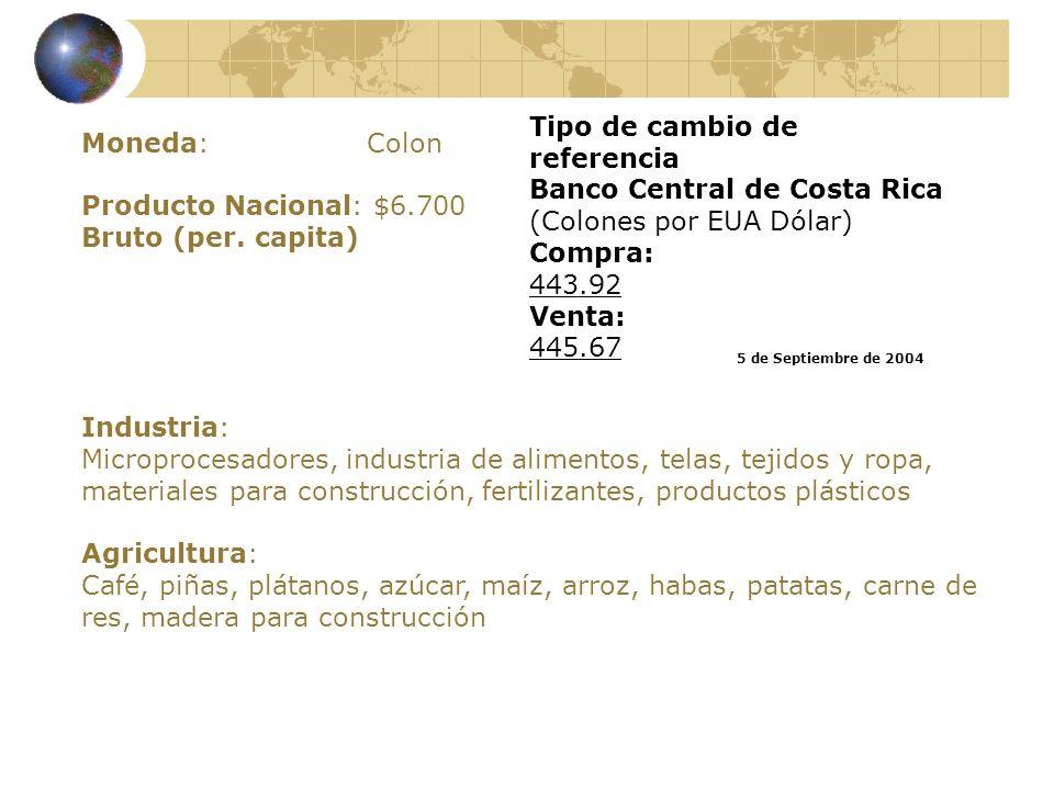 Tipo de cambio de referencia Banco Central de Costa Rica (Colones por EUA Dólar)