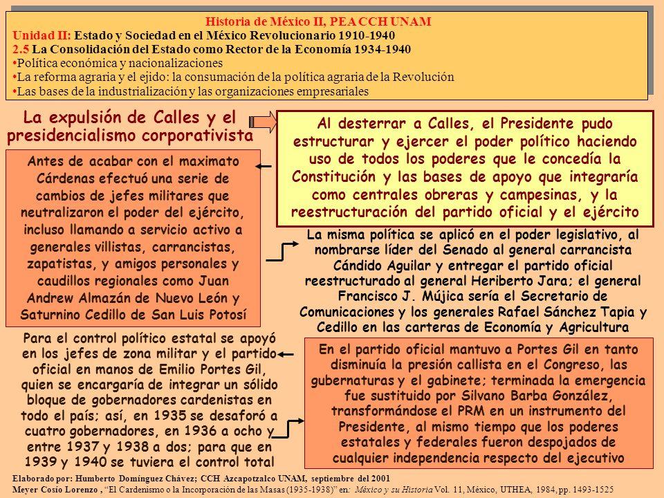La expulsión de Calles y el presidencialismo corporativista