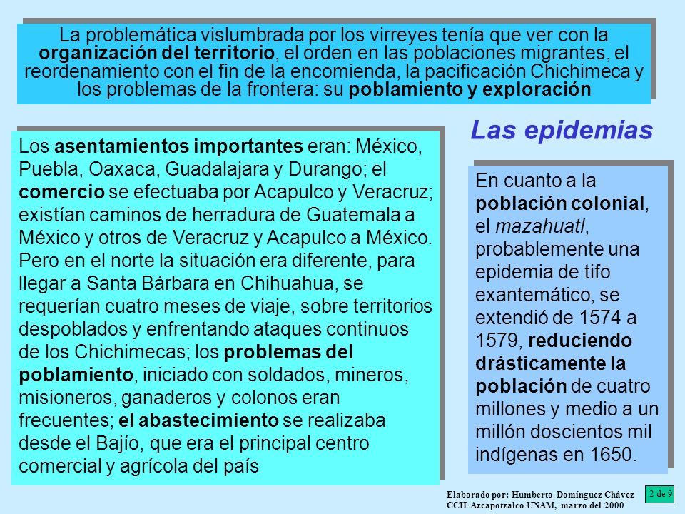 La problemática vislumbrada por los virreyes tenía que ver con la organización del territorio, el orden en las poblaciones migrantes, el reordenamiento con el fin de la encomienda, la pacificación Chichimeca y los problemas de la frontera: su poblamiento y exploración