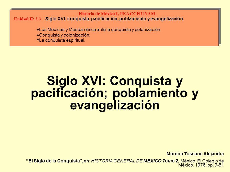 Siglo XVI: Conquista y pacificación; poblamiento y evangelización