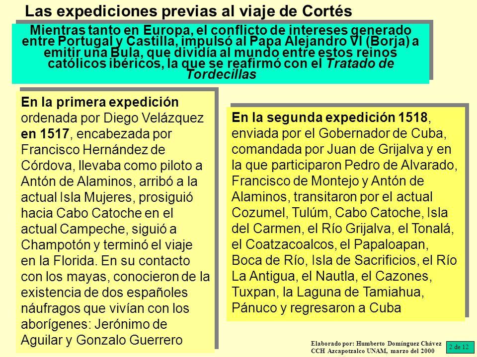 Las expediciones previas al viaje de Cortés