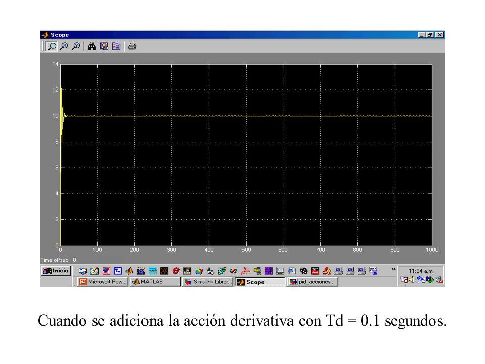 Cuando se adiciona la acción derivativa con Td = 0.1 segundos.