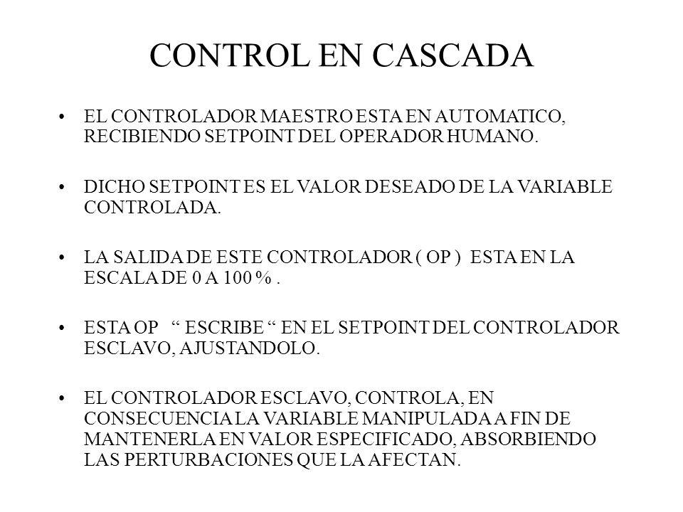 CONTROL EN CASCADAEL CONTROLADOR MAESTRO ESTA EN AUTOMATICO, RECIBIENDO SETPOINT DEL OPERADOR HUMANO.