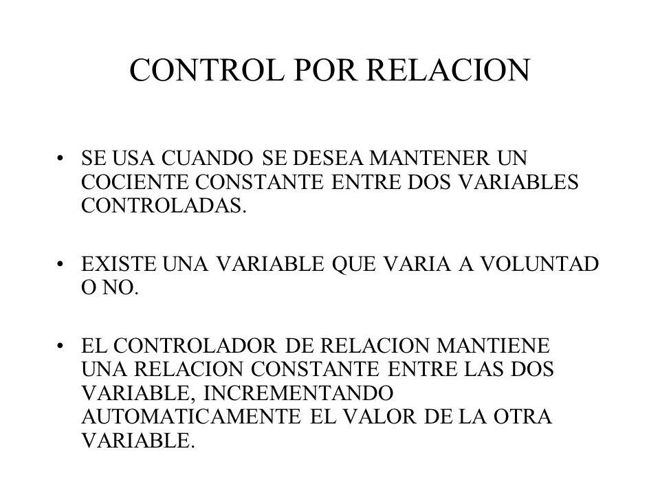 CONTROL POR RELACION SE USA CUANDO SE DESEA MANTENER UN COCIENTE CONSTANTE ENTRE DOS VARIABLES CONTROLADAS.