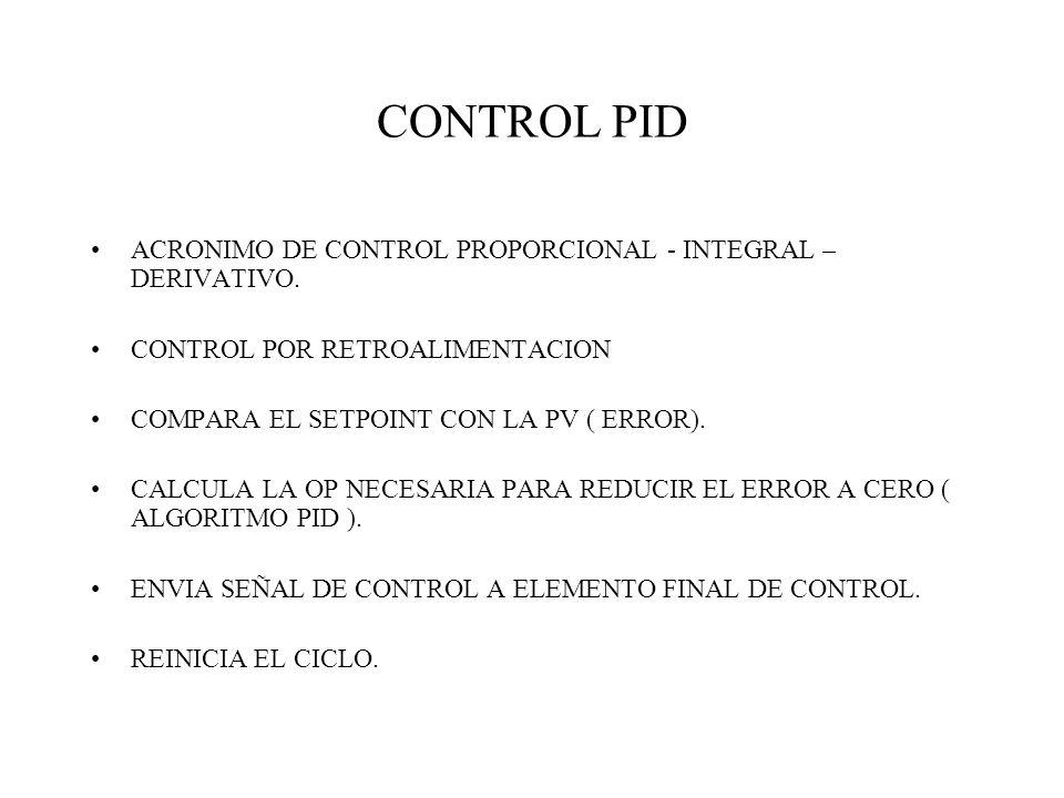 CONTROL PID ACRONIMO DE CONTROL PROPORCIONAL - INTEGRAL – DERIVATIVO.