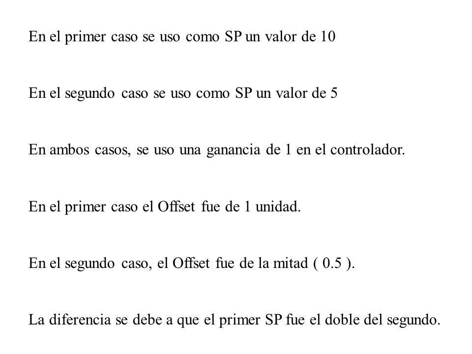 En el primer caso se uso como SP un valor de 10