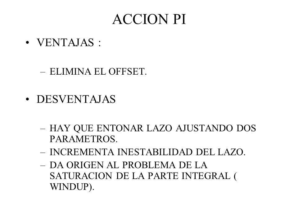 ACCION PI VENTAJAS : DESVENTAJAS ELIMINA EL OFFSET.