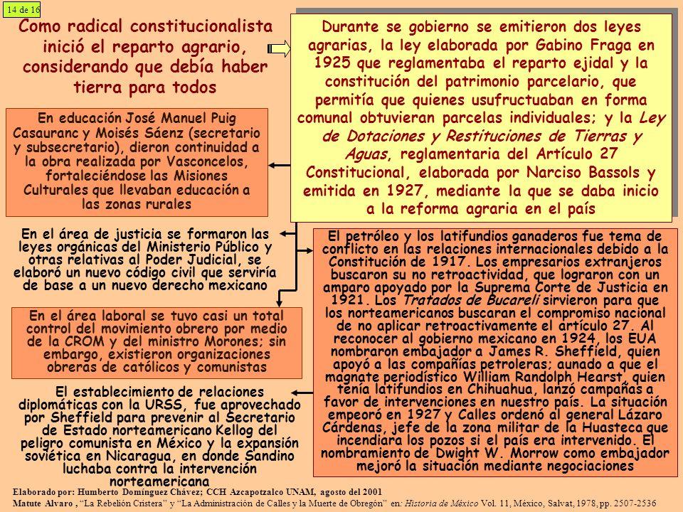 14 de 16 Como radical constitucionalista inició el reparto agrario, considerando que debía haber tierra para todos.