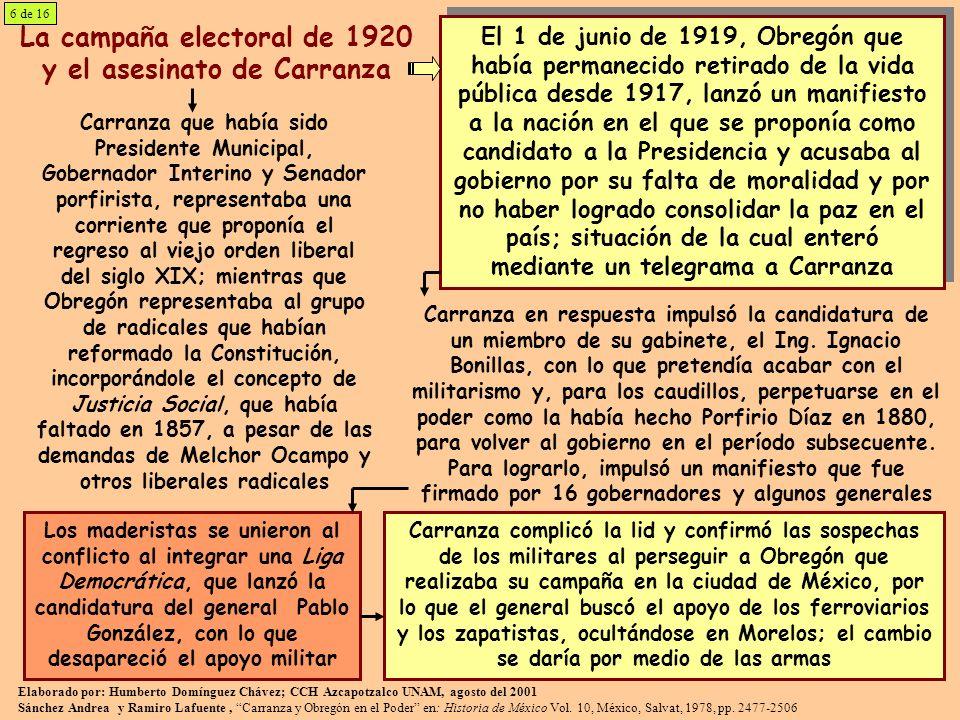 La campaña electoral de 1920 y el asesinato de Carranza