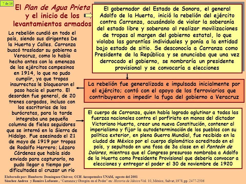 El Plan de Agua Prieta y el inicio de los levantamientos armados