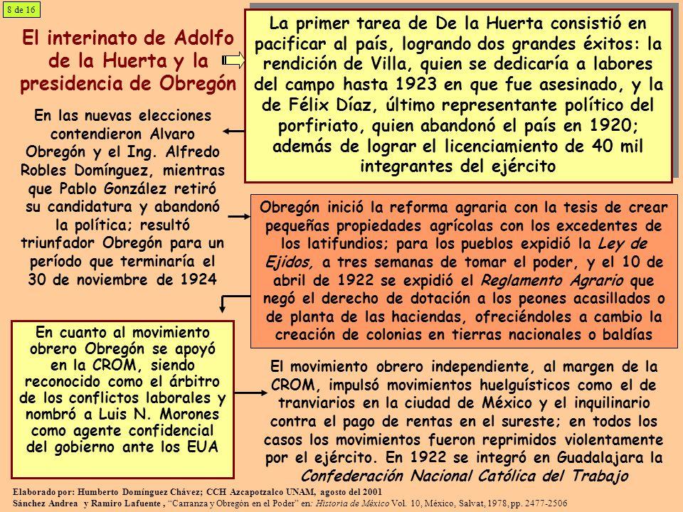 El interinato de Adolfo de la Huerta y la presidencia de Obregón
