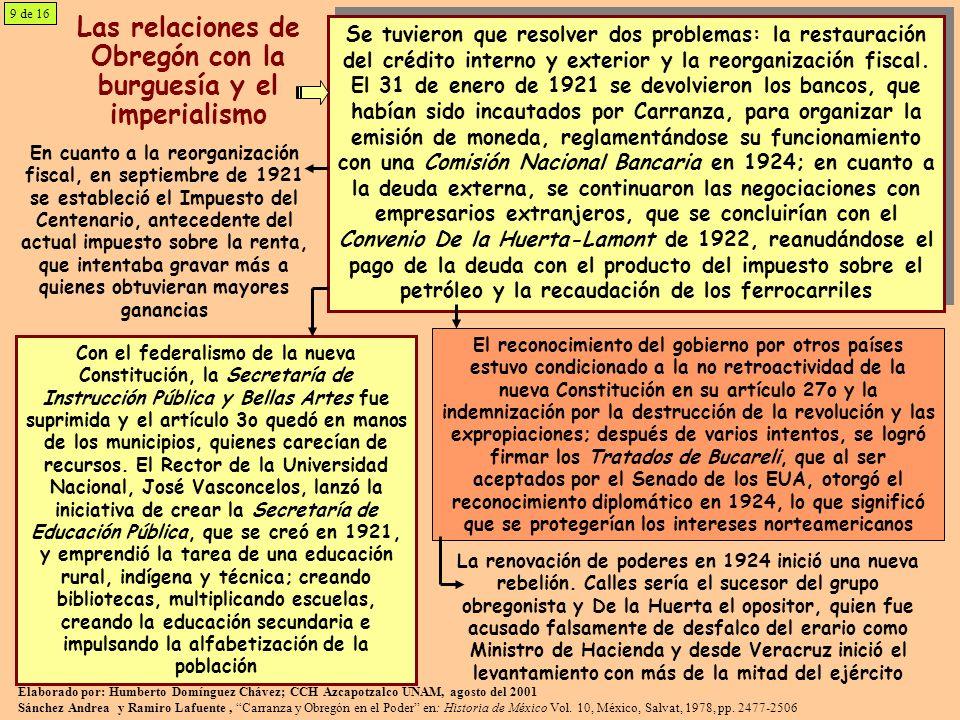 Las relaciones de Obregón con la burguesía y el imperialismo
