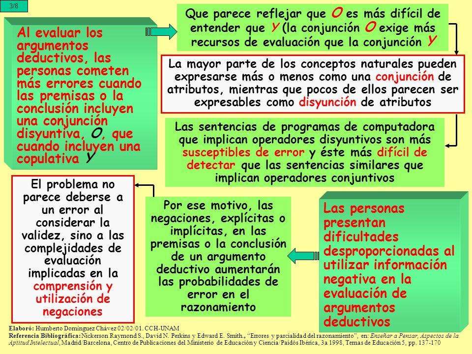 3/8 Que parece reflejar que O es más difícil de entender que Y (la conjunción O exige más recursos de evaluación que la conjunción Y.
