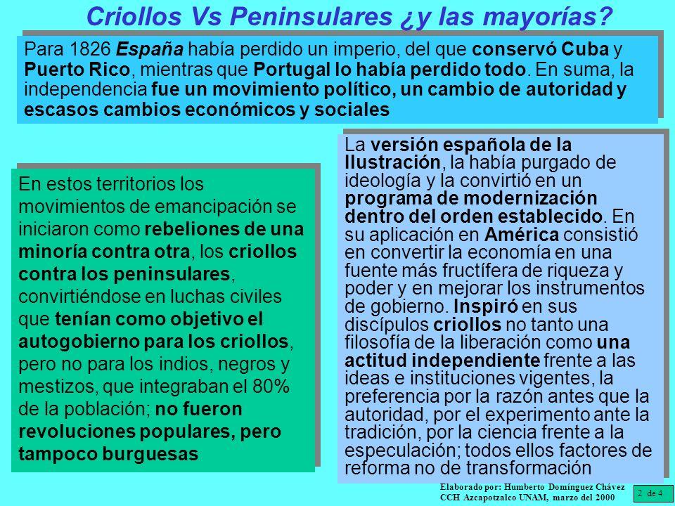 Criollos Vs Peninsulares ¿y las mayorías