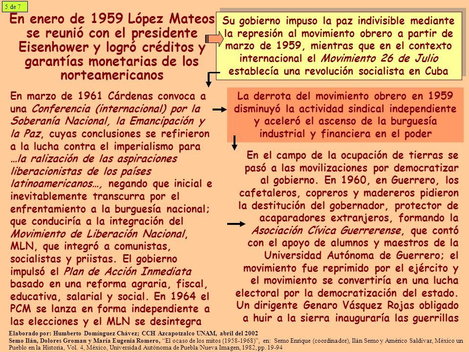 5 de 7 En enero de 1959 López Mateos se reunió con el presidente Eisenhower y logró créditos y garantías monetarias de los norteamericanos.