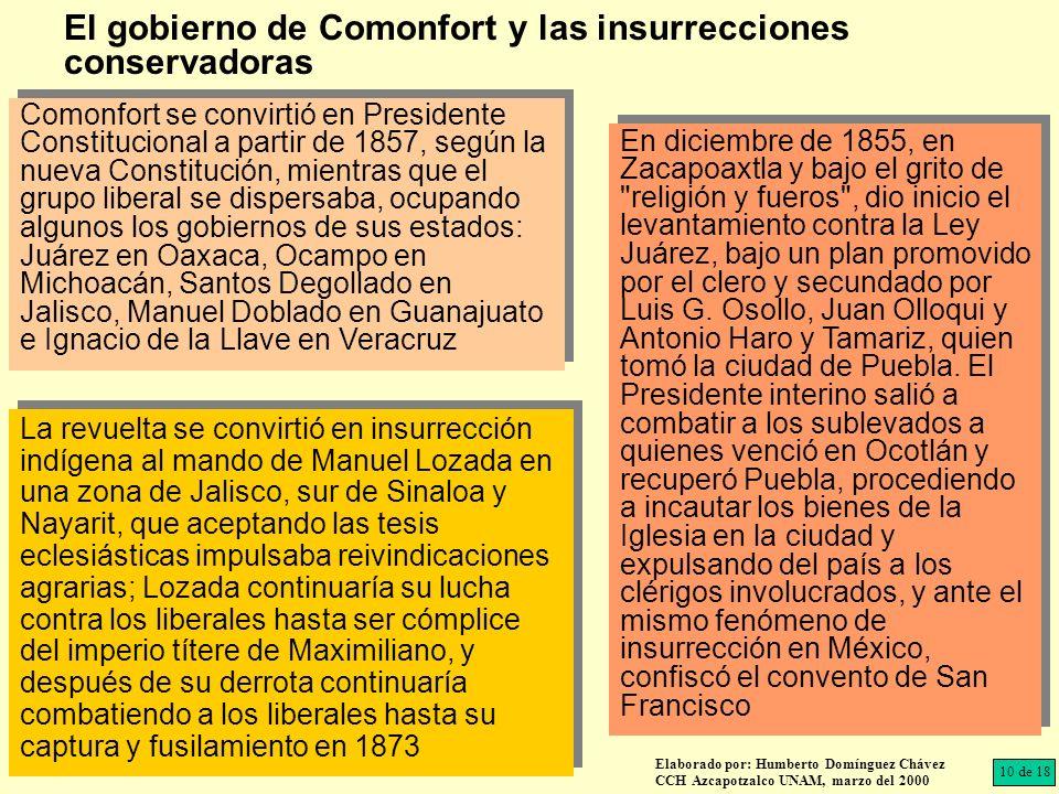 El gobierno de Comonfort y las insurrecciones conservadoras