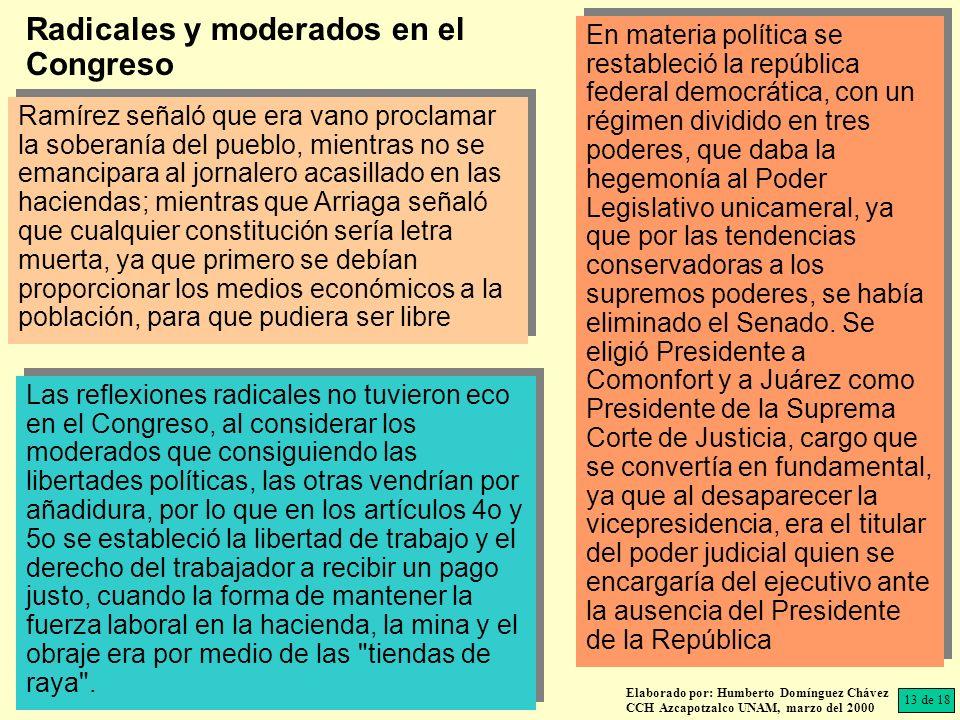 Radicales y moderados en el Congreso