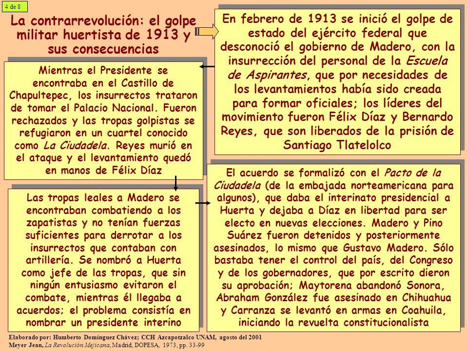 4 de 8 La contrarrevolución: el golpe militar huertista de 1913 y sus consecuencias.