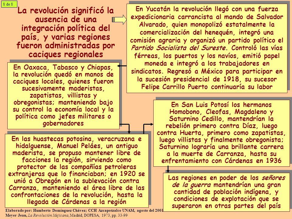 8 de 8La revolución significó la ausencia de una integración política del país, y varias regiones fueron administradas por caciques regionales.