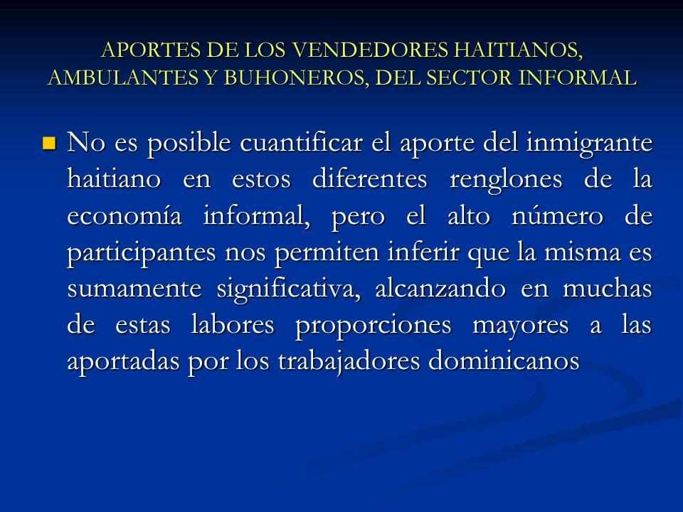 APORTES DE LOS VENDEDORES HAITIANOS, AMBULANTES Y BUHONEROS, DEL SECTOR INFORMAL