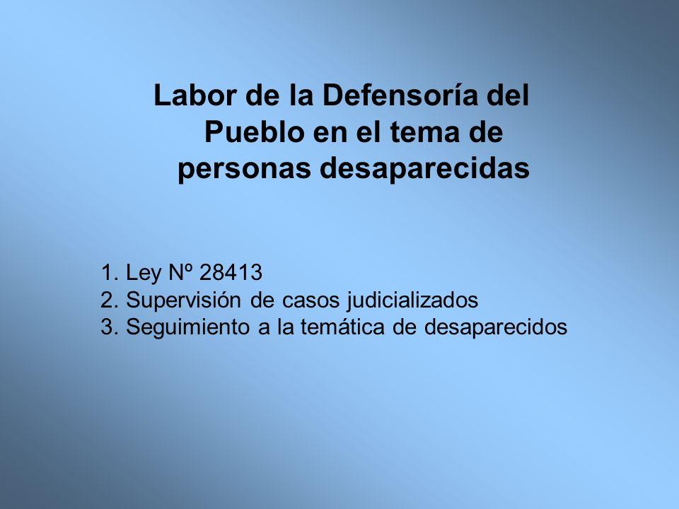 Labor de la Defensoría del Pueblo en el tema de personas desaparecidas