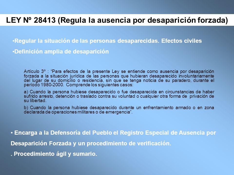 LEY Nº 28413 (Regula la ausencia por desaparición forzada)