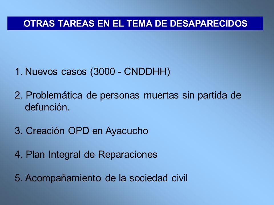 OTRAS TAREAS EN EL TEMA DE DESAPARECIDOS