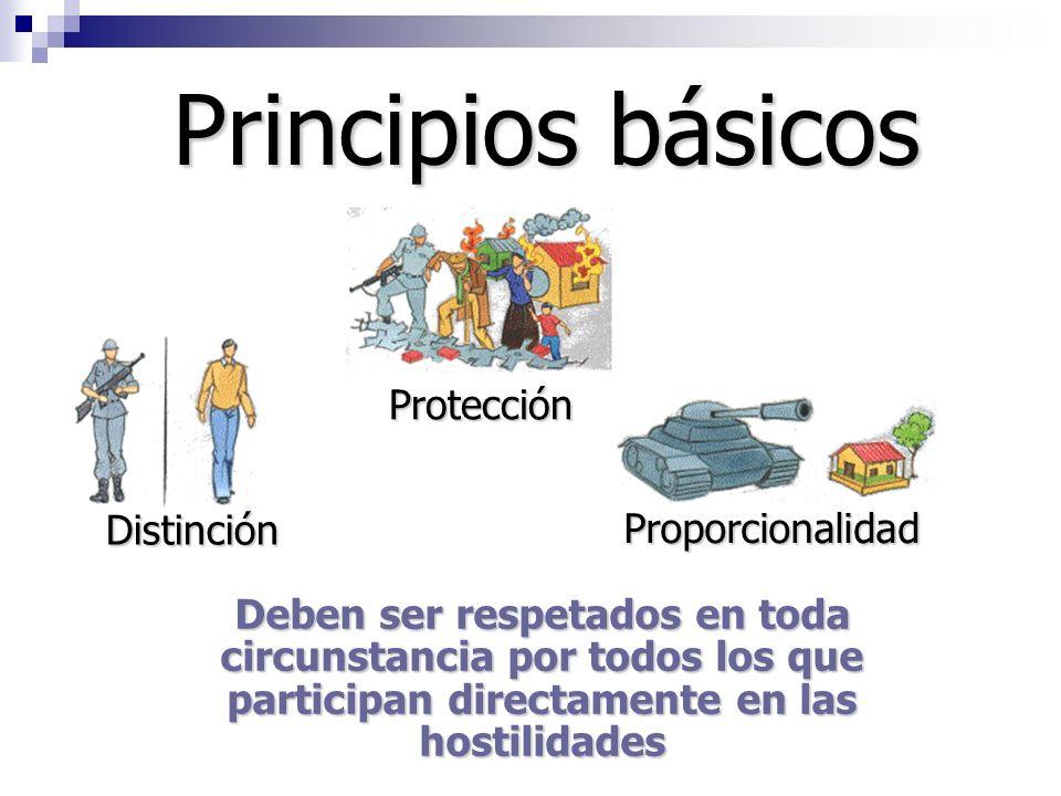Principios básicos Protección Distinción Proporcionalidad