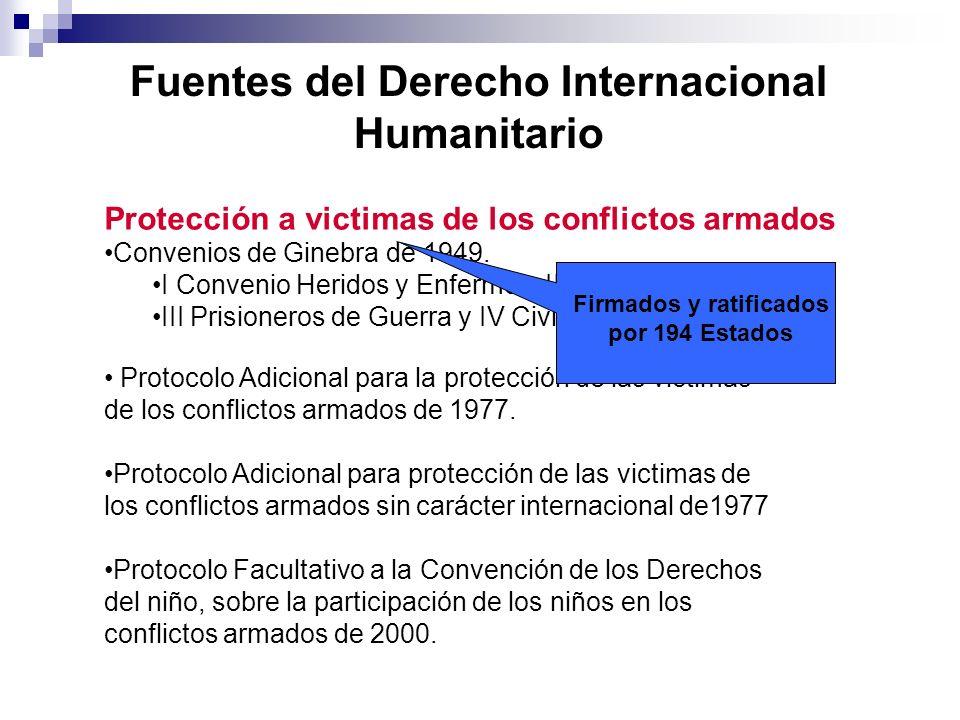 Fuentes del Derecho Internacional Humanitario Firmados y ratificados