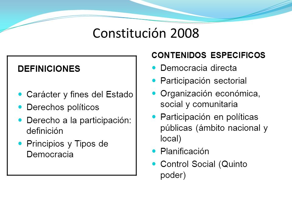 Constitución 2008 DEFINICIONES Democracia directa