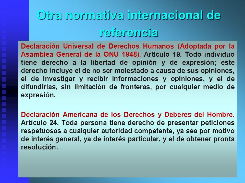 Otra normativa internacional de referencia