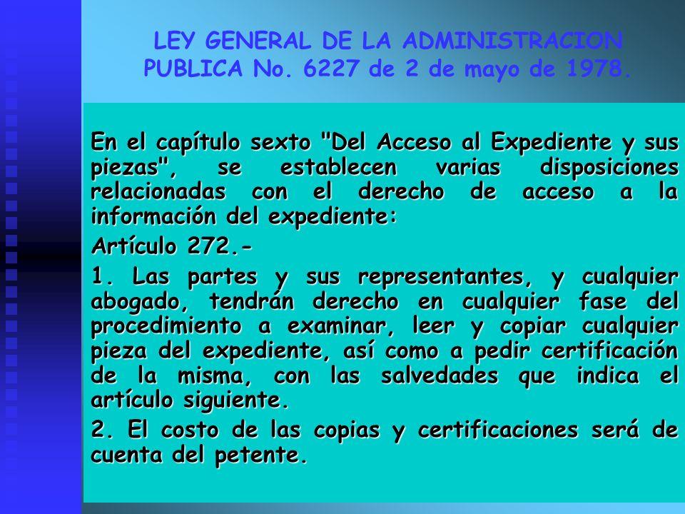 LEY GENERAL DE LA ADMINISTRACION PUBLICA No. 6227 de 2 de mayo de 1978.