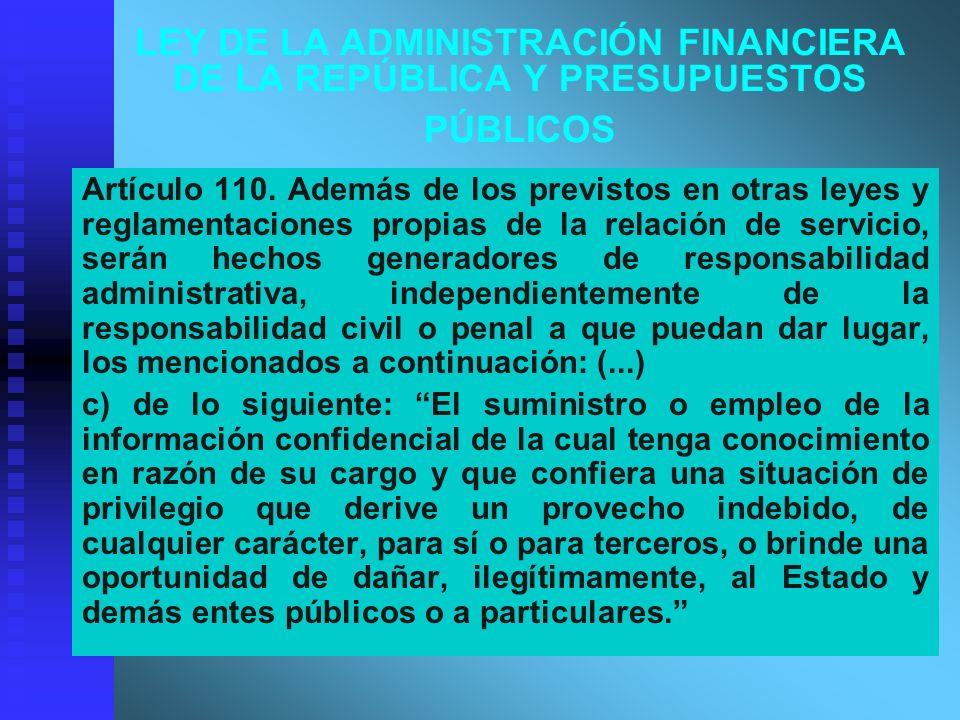 LEY DE LA ADMINISTRACIÓN FINANCIERA DE LA REPÚBLICA Y PRESUPUESTOS PÚBLICOS