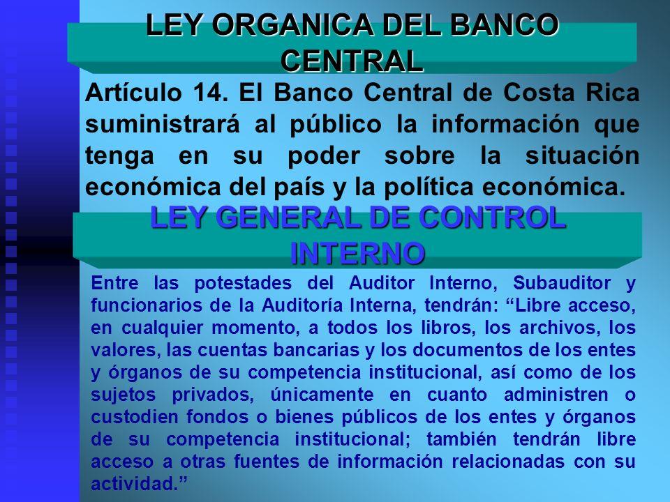 LEY ORGANICA DEL BANCO CENTRAL