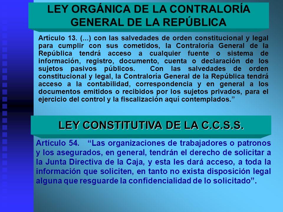 LEY ORGÁNICA DE LA CONTRALORÍA GENERAL DE LA REPÚBLICA