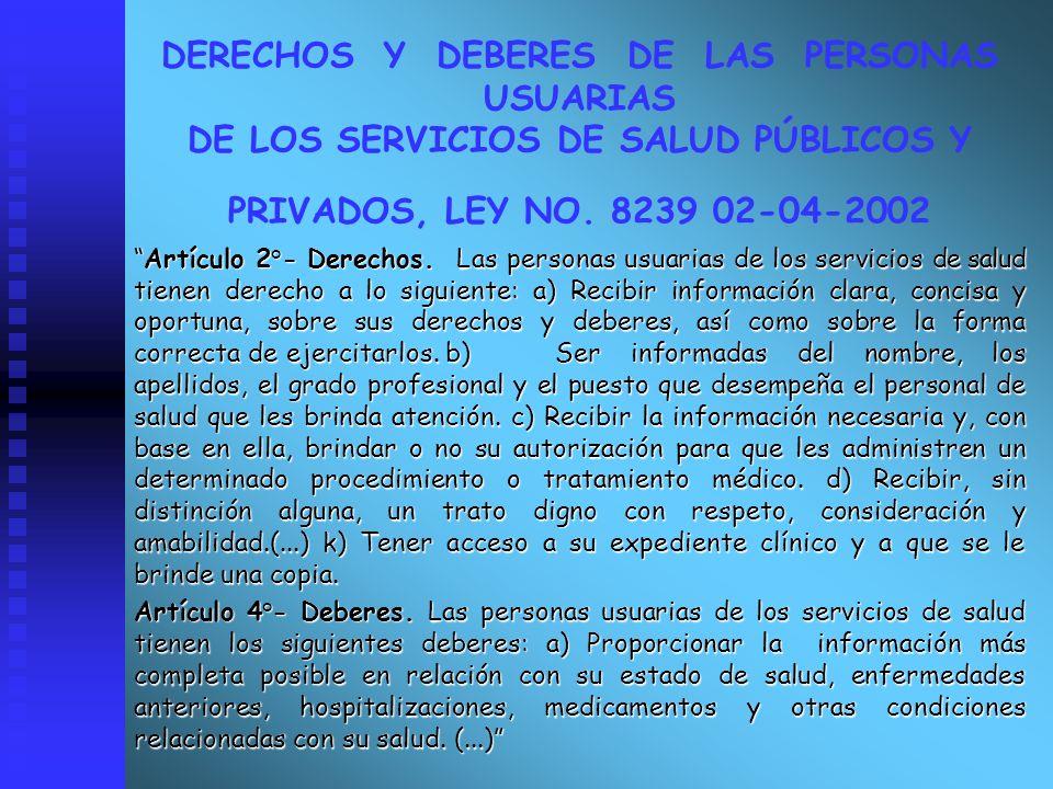 DERECHOS Y DEBERES DE LAS PERSONAS USUARIAS DE LOS SERVICIOS DE SALUD PÚBLICOS Y PRIVADOS, LEY NO. 8239 02-04-2002
