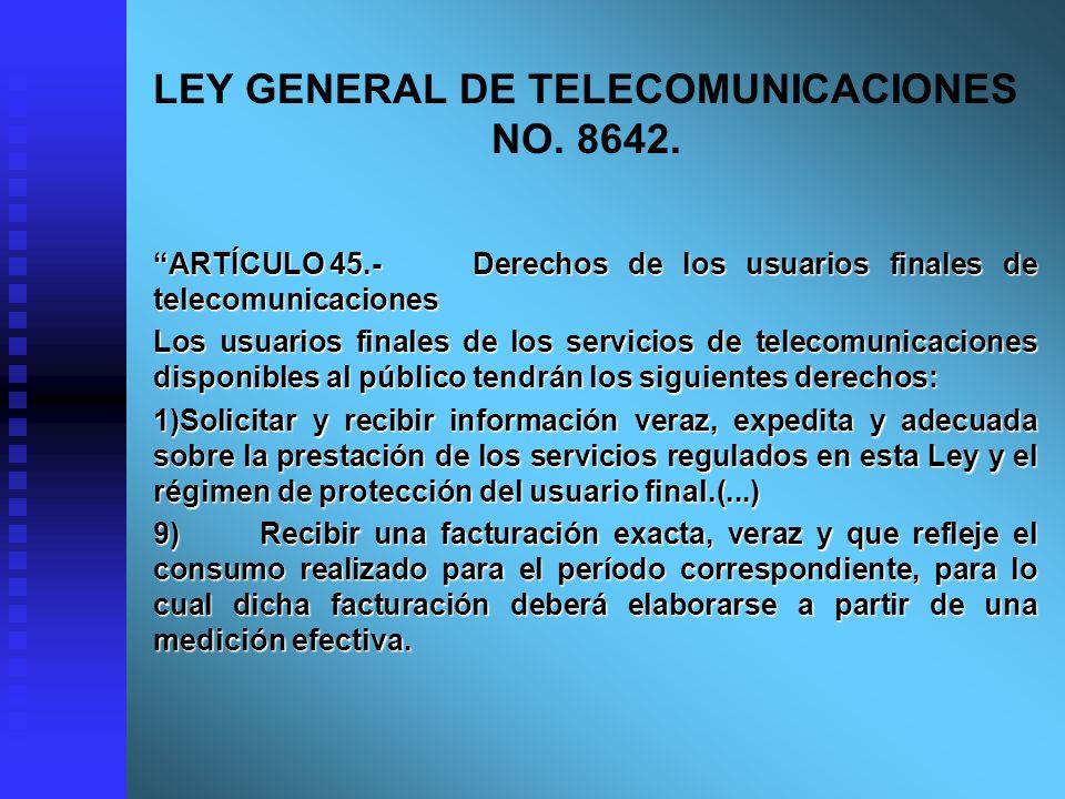 LEY GENERAL DE TELECOMUNICACIONES NO. 8642.