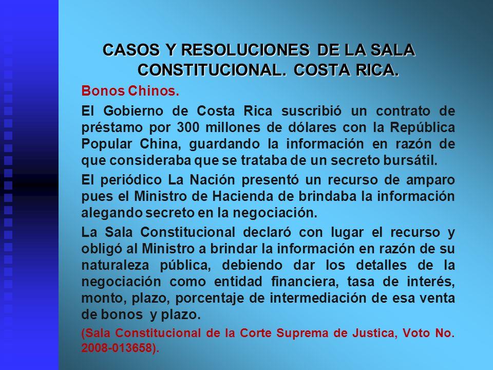CASOS Y RESOLUCIONES DE LA SALA CONSTITUCIONAL. COSTA RICA.