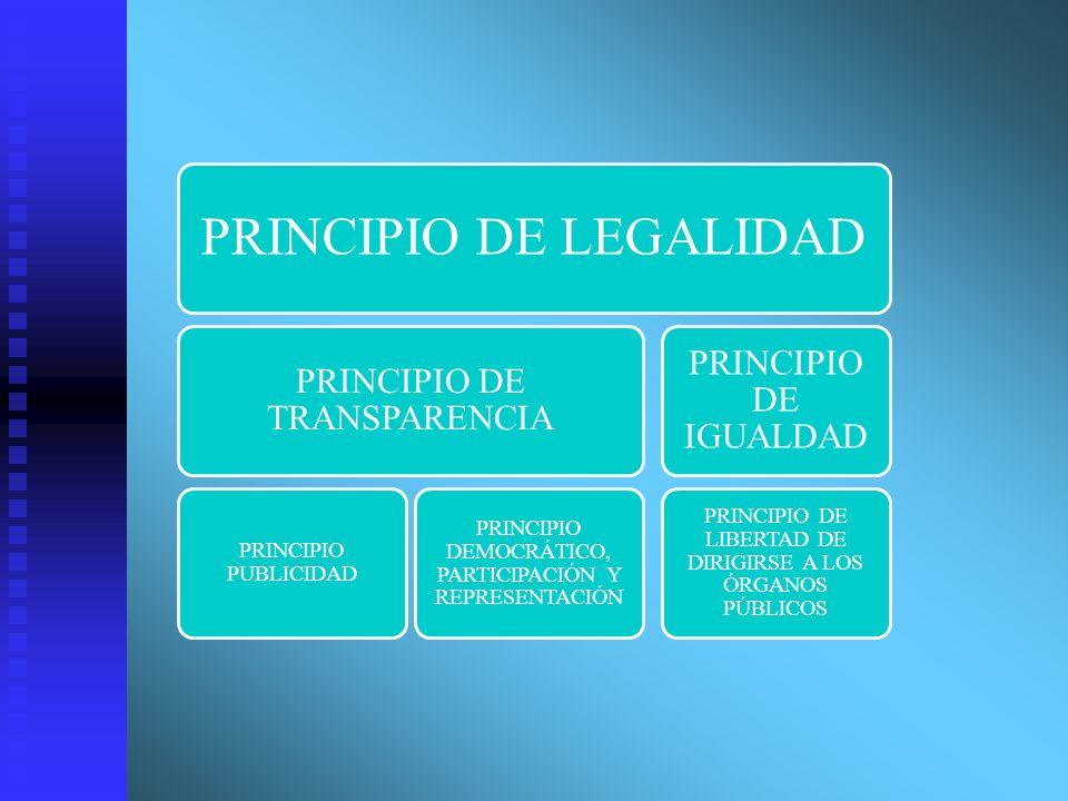 PRINCIPIO DE LEGALIDAD PRINCIPIO DE TRANSPARENCIA PRINCIPIO PUBLICIDAD