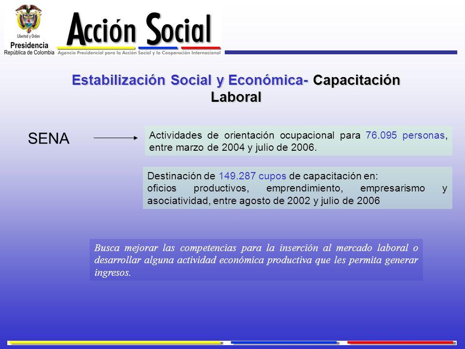 Estabilización Social y Económica- Capacitación Laboral