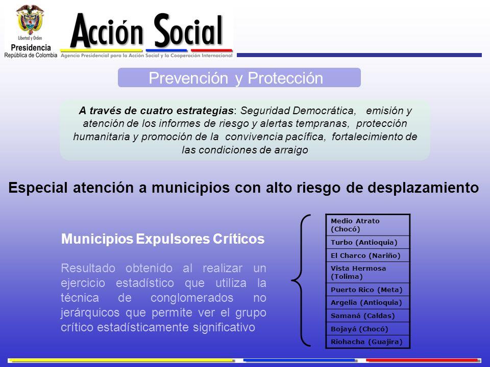 Especial atención a municipios con alto riesgo de desplazamiento