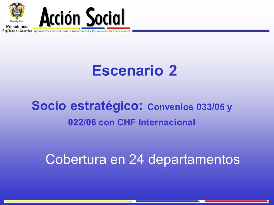 Socio estratégico: Convenios 033/05 y 022/06 con CHF Internacional