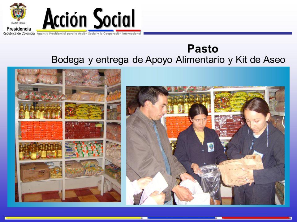 Bodega y entrega de Apoyo Alimentario y Kit de Aseo