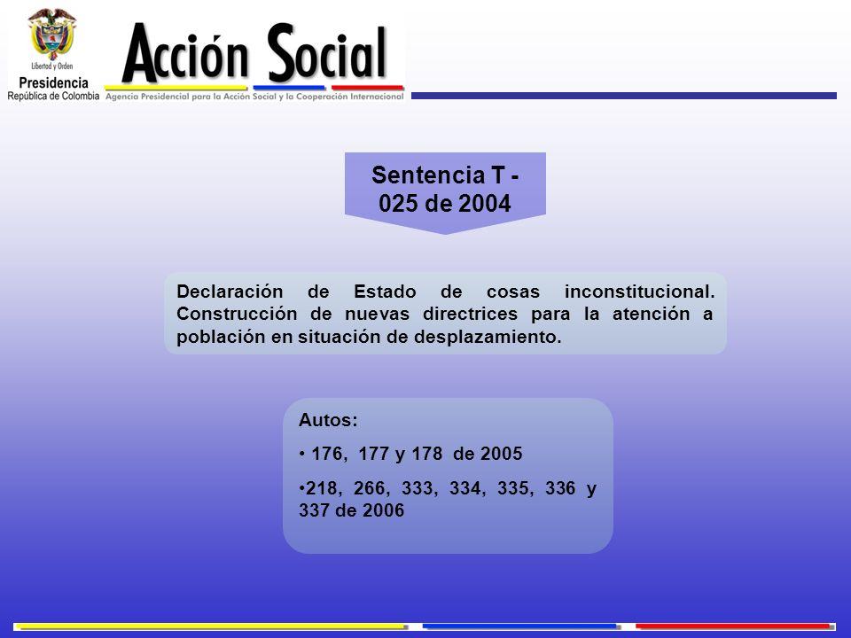 Sentencia T - 025 de 2004