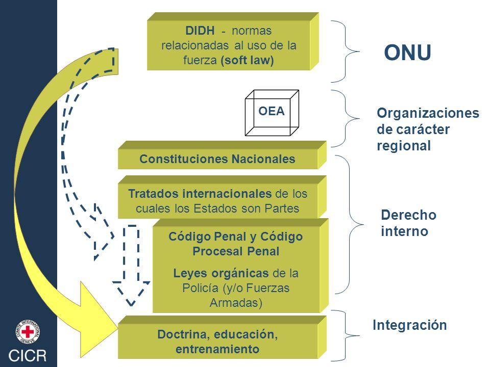 ONU Organizaciones de carácter regional Derecho interno Integración