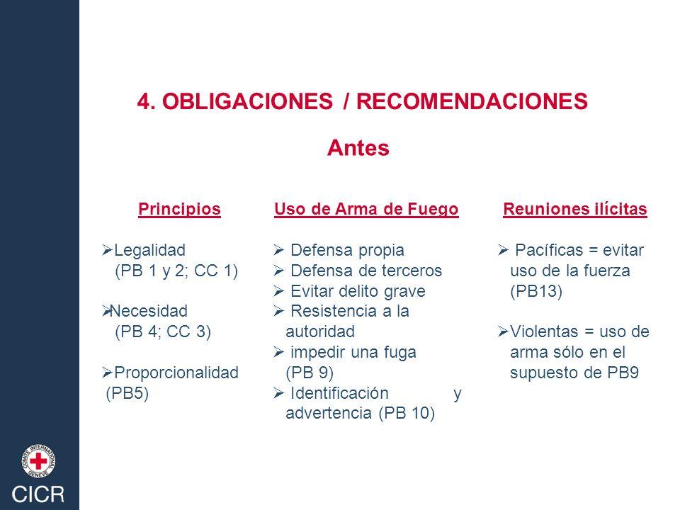 4. OBLIGACIONES / RECOMENDACIONES