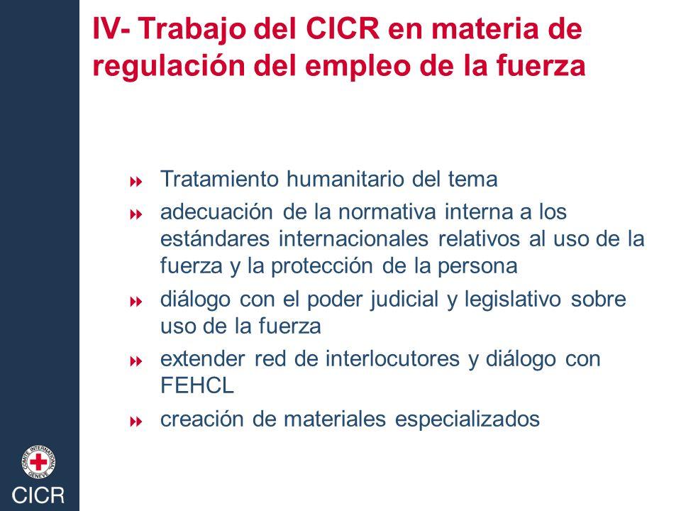 IV- Trabajo del CICR en materia de regulación del empleo de la fuerza